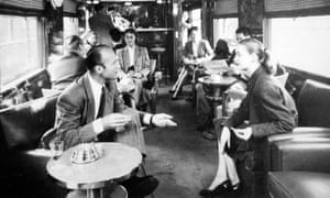 Ticket to ride: drinkers in the bar of the Blue Train, 1950.