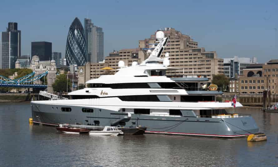 Aviva luxury yacht belonging to Joe Lewis moored near Tower Bridge in London