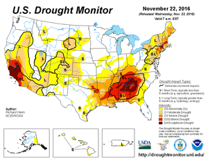 U.S. Drought Monitor for 22 November 2016.