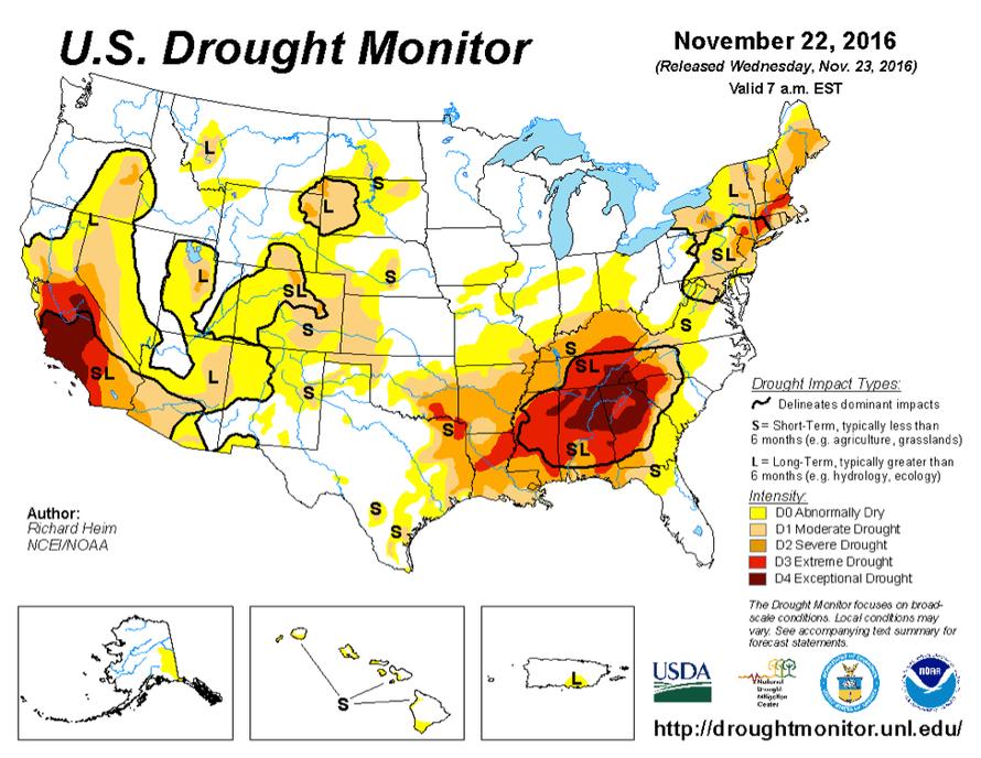 U.S. Drought Monitor for 22 November 2016.