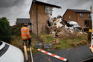 The aftermath of gas explosion in Bourne, England