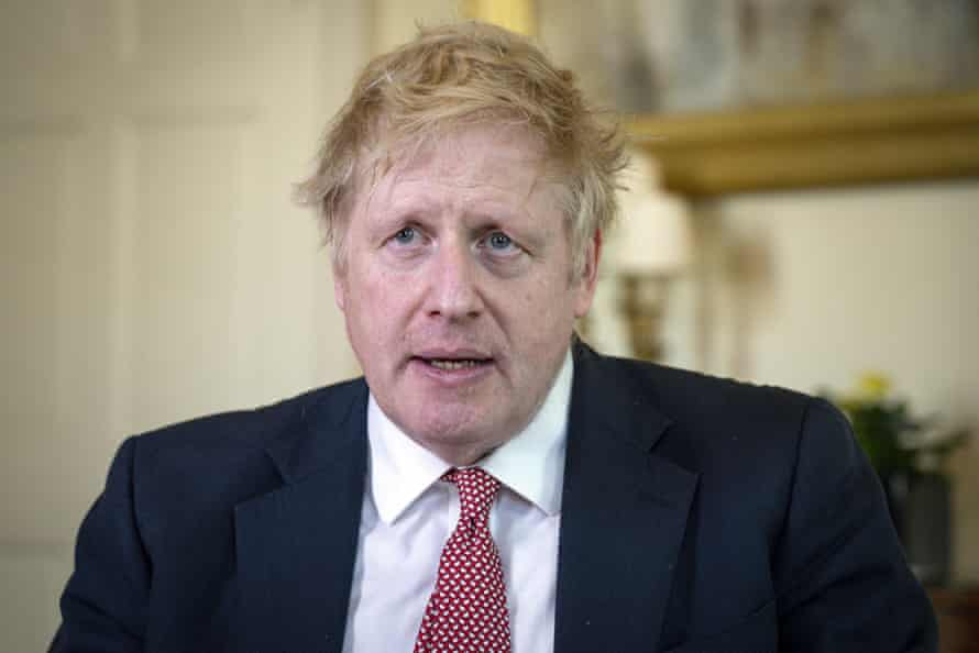 Boris Johnson records a video message on Easter Sunday at Number 10 after release from the hospital, before leaving for Chequers 12 April