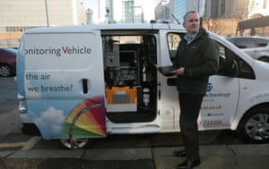 Duncan Mounsor, with his van, measuring air quality and pollution outside a school in Poplar, east London
