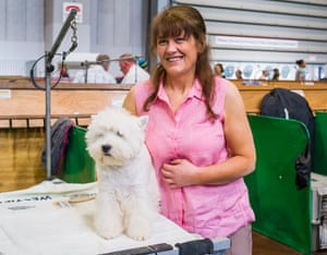 Marie Burns at Crufts dog show 2019, with west highland white terrier Burneze Maid to Order, or Becky, who won best puppy