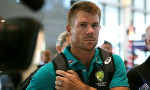 Former Australian cricket vice-captain David Warner at Cape Town airport on Tuesday