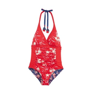 Red bamboo print reversible swimsuit, £45, whitestuff. com.