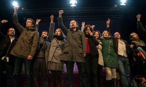 Podemos celebrate the results in Spain's general elections in December.