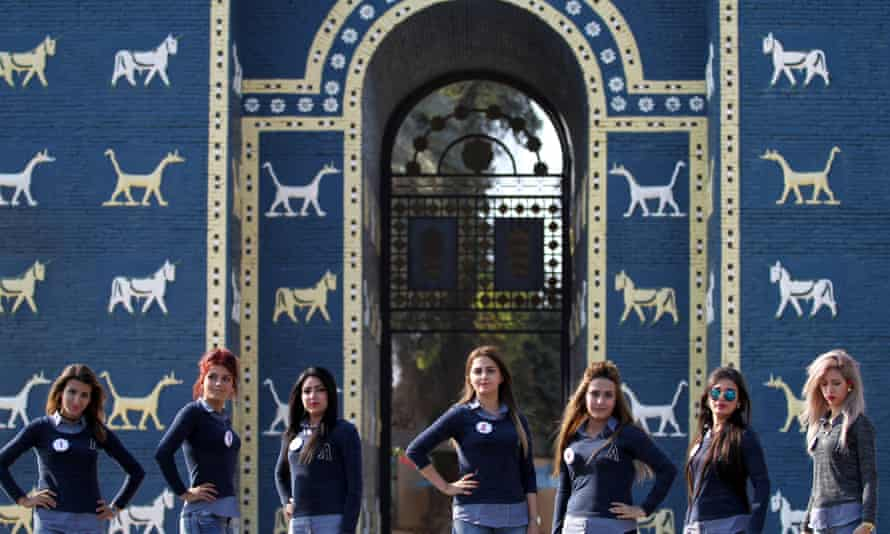 Some Iraqi candidates for Miss Iraq beauty contest pose in front of the Ishtar Gate at the ancient archaeological site of Babylon.