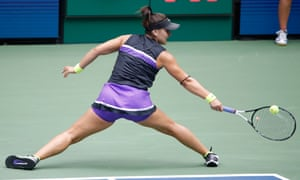 Bianca Andreescu hits a return in the second set.