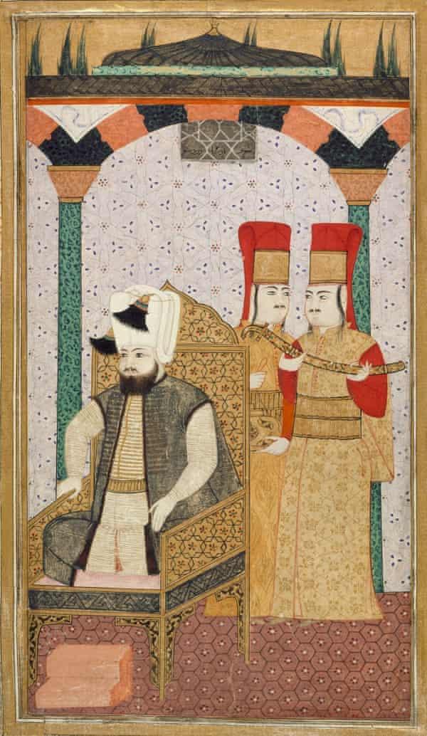 Sultan Mehmet III attended by two Janissaries.