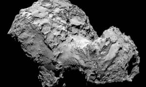 A view of comet 67P/Churyumov-Gerasimenko. Scientists are trying to coax into life the Philae probe which is stuck in shade on its surface.