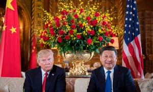 Donald Trump Chinese president Xi Jinping during a meeting at the Mar-a-Lago resort in Palm Beach, Florida.