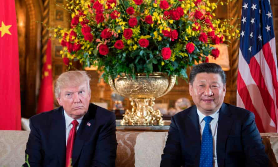 Donald Trump sits with Chinese President Xi Jinping during a bilateral meeting at the Mar-a-Lago estate in West Palm Beach, Florida, in April.