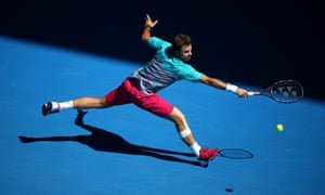 Stan Wawrinka of Switzerland reaches for a backhand.