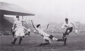 Stockport County's Ken Shaw scores in the 203-minute match against Doncaster Rovers on 30 March 1946.