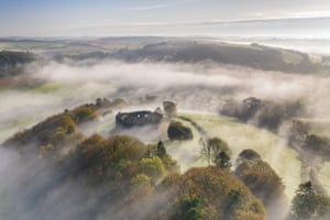 Restormel Castle surrounded by morning mist, Lostwithiel, Cornwall, England