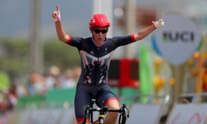 Great Britain's Sarah Storey celebrates winning the C4/C5 women's road race.