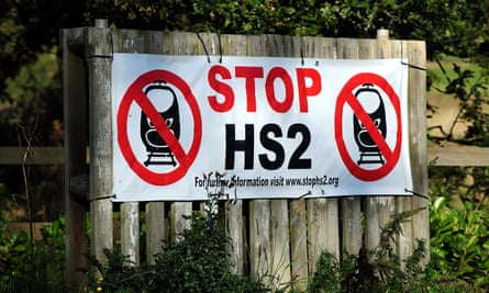 A protest sign against the arrival of HS2 in Whittington, Staffordshire