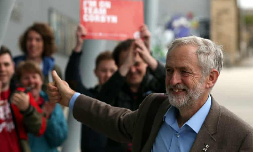 Jeremy Corbyn gestures to supporters as he arrives to take part in the final Labour party leadership debate in Gateshead earlier this month.
