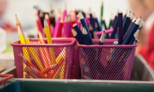 Coloured pencils in classroom
