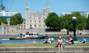 Sunbathers near Tower Bridge