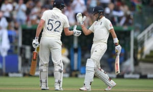 Dom Sibley reaches his 50 and is congratulated by Joe Root.
