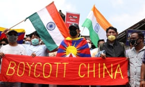 Indians protest against China.