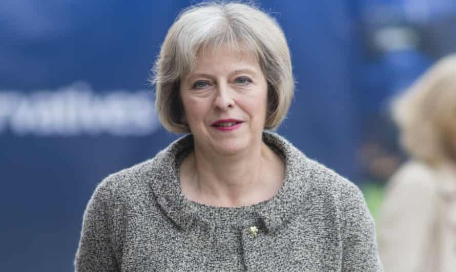 Home secretary Theresa May at the Conservative party conference in Manchester on Monday.