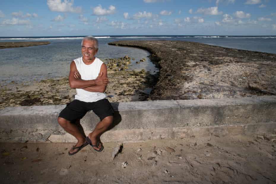 The former president of Kiribati, Anote Tong, relaxes at his home on South Tarawa.