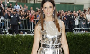 Shining example: Livia Firth at the Met Ball in a silver dress made out of pineapple leaves.