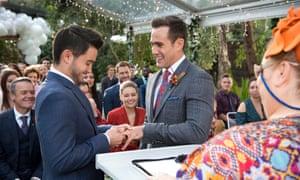 David (Takaya Honda) and Aaron (Matt Wilson) tie the knot in Neighbours.
