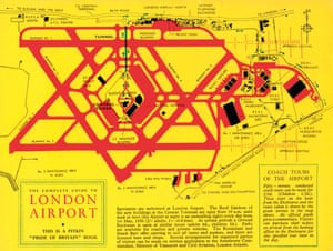 The rear cover of the 1956 guidebook showed a plan of the airport at the time, with entrance prices to the spectators' viewing terraces and also for airport coach tours