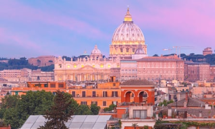 St Peter's Cathedral at sunset in Rome
