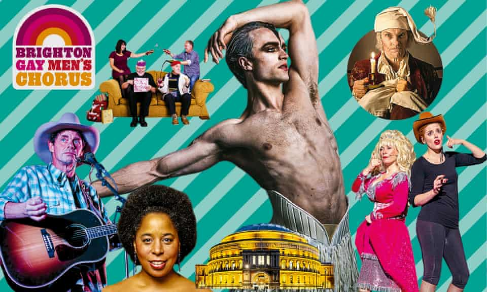 Clockwise from bottom left: Rich Hall's Hoedown; Albion Christmas Band; Swan Lake; A Christmas Carol; Doris, Dolly and the Dressing Room Divas; the Royal Albert Hall; Sing Sistah Sing!