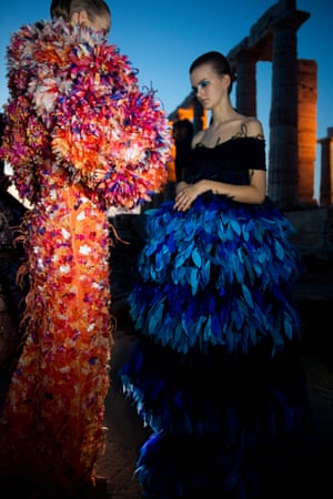 Feathers were used to decorate dresses throughout the collection as was beading, which was donated by the designer's suppliers in Mumbai in aid of the charity Elpida.