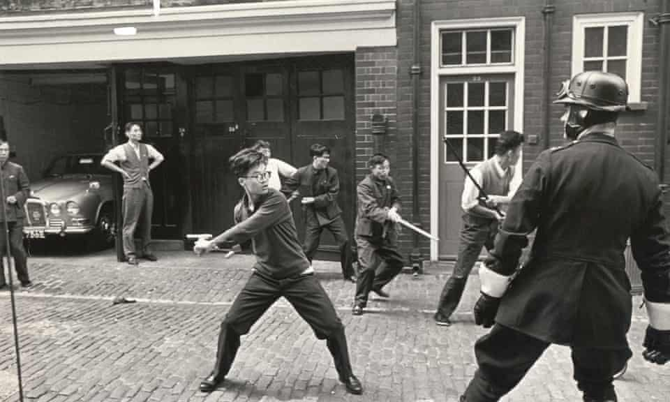 Chinese mission staff face off with police, 1967.