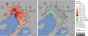 Percentage of Melbourne residences within 400m of a bus stop, 600m of a tram stop or 800m of a train station.