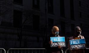 Steven Donziger supporters show their support in federal court in New York.