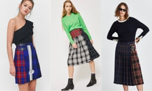 Great Scot! frankenkilts from Made Me at Urban Outfitters, £198; Topshop, £46; Zara, £49.99