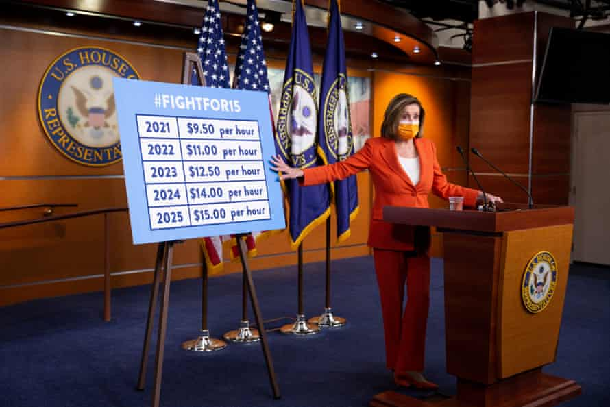 Nancy Pelosi, speaker of the House, holds a news conference on raising the federal minimum wage.