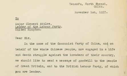 Letter from Mao Zedong to Clement Attlee
