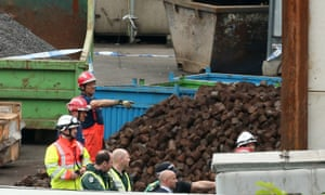 The scene at Hawkeswood Metal Recycling in the Nechells area of Birmingham where the five men died.