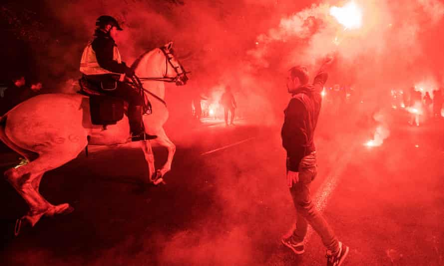 A police officer on horseback among Sevilla fans before kick-off when many Liverpool fans reported having trouble getting into the ground
