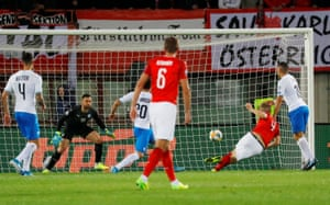 Austria's Hinteregger scores their second goal.