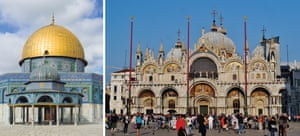 More Arab than European … Jerusalem's Dome of the Rock, left, and St Mark's basilica in Venice.