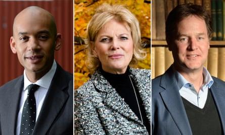 Chuka Umunna, Anna Soubry and Nick Clegg