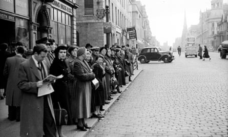 Waiting for a bus in Aberdeen in 1955