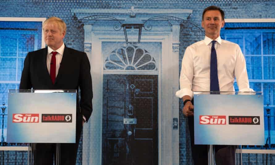 Boris Johnson and Jeremy Hunt at a hustings
