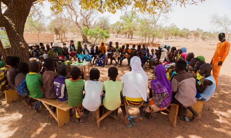 Pupils attend school during the pandemic in Burkina Faso.