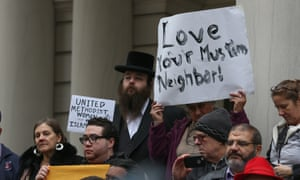 NGOs and religious leaders protest against Donald Trump's messages at a gathering in New York, December 2015.